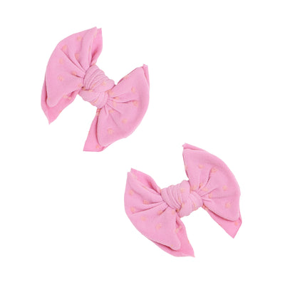 2PK BABY SHAB CLIPS: Frosting With Pink Dot