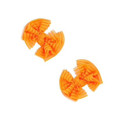 2PK Tulle Baby Fab Clip- Neon Orange Stripe