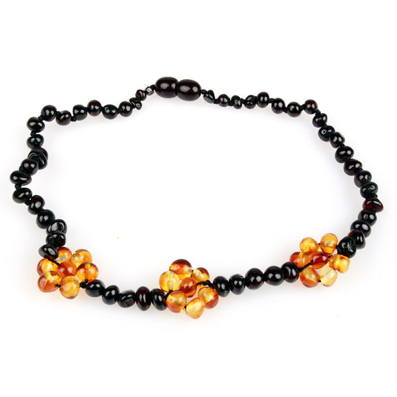Amber Teething Necklace - Flower Cherry & Honey Baltic Amber