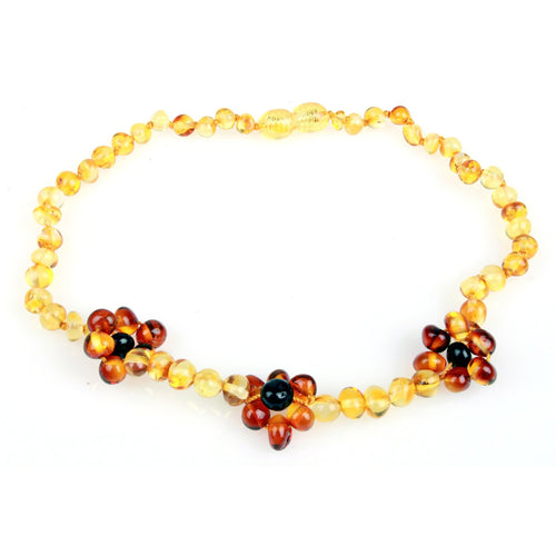 Amber Teething Necklace - Flower Honey & Cognac Baltic Amber