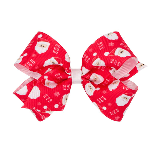 King Christmas Print Bow- Santa