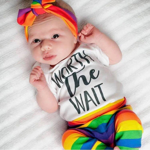 Gender Neutral Newborn Set- Worth the Wait- Rainbow Stripe with Hat
