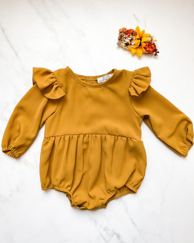 Rhodes Ruffle Bubble Romper- Dusty Mustard