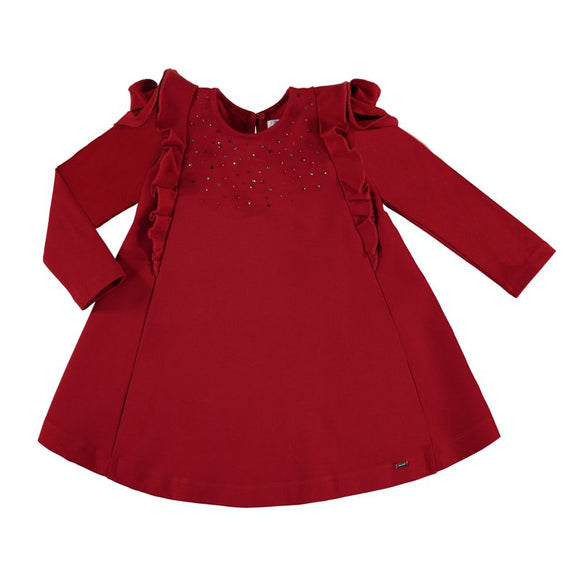 Mayoral Girls Red Knitted Dress with Sparkles