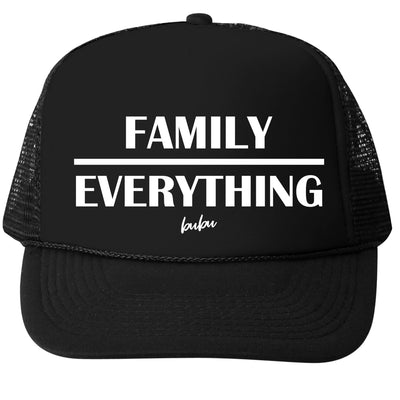 Family Over Everything black trucker hat