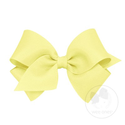 Small Classic Grosgrain Hair Bow-Light Yellow