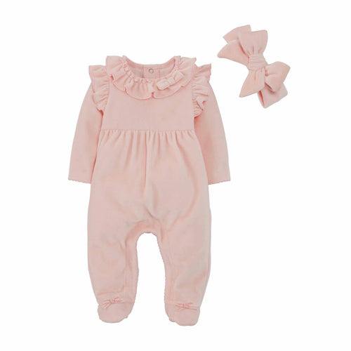 Velour Pink Sleeper Set