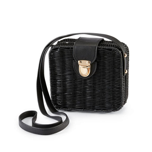 Rattan Square Crossbody-Black