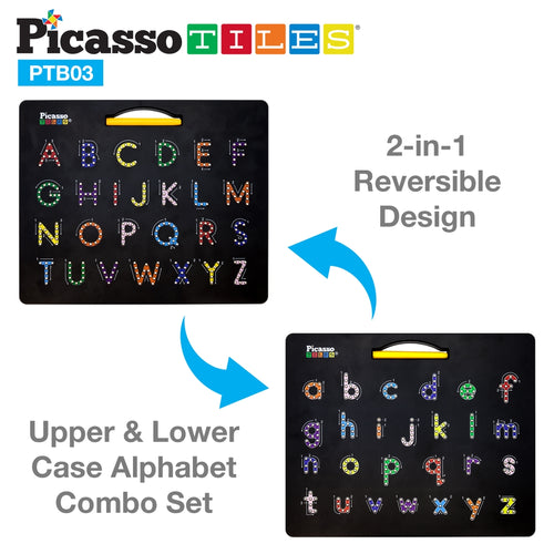 Picasso Tiles Double-Sided Drawing Board Upper & Lower Case Numbers