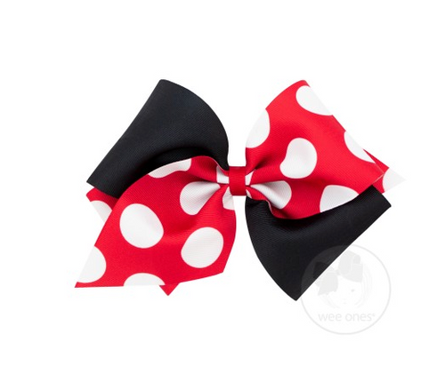 Two-Tone Red Dot Print Bow