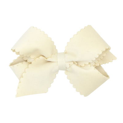 Small King Scalloped Edge Faux Velvet Bow- Antique White