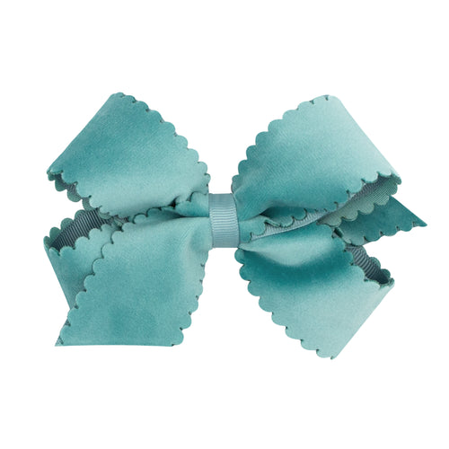 Small King Scalloped Edge Faux Velvet Bow- Blue