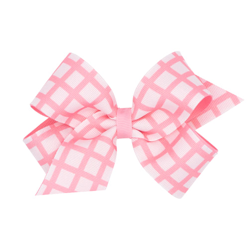 Medium Windowpane Print Overlay Bow- Jack & Jill Pink