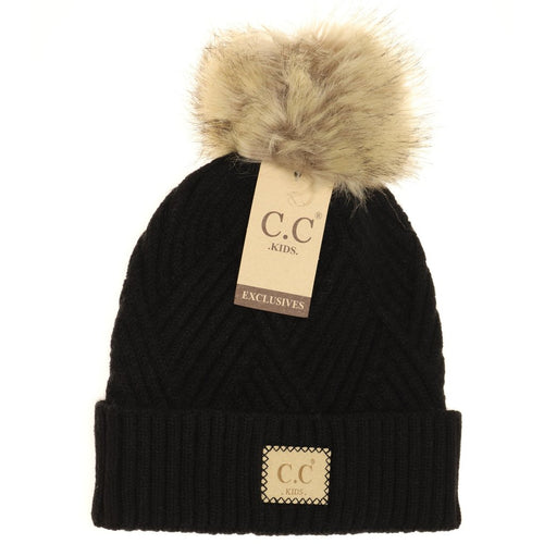 Kids Large Patch Heathered Beanie-Black