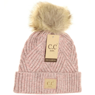 Kids Large Patch Heathered Beanie-Rose Mix