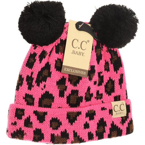 Baby Leopard Double Pom Beanie-New Candy Pink