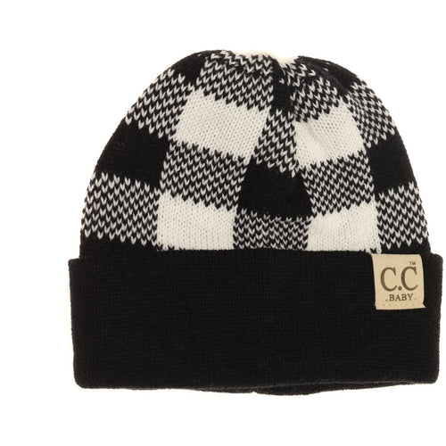 Baby Buffalo Plaid Cuff Beanie- Black/White