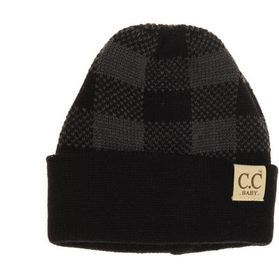 Baby Buffalo Plaid Cuff Beanie- Black/Dark Grey