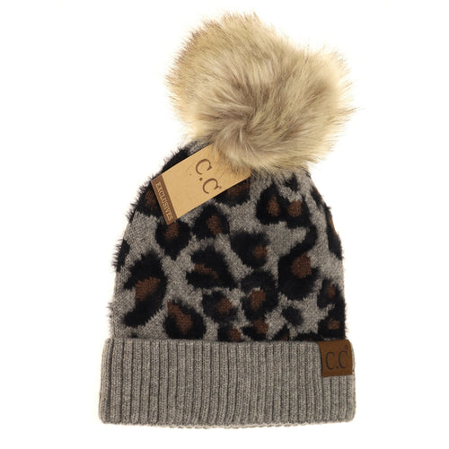 Adult Leopard Pom Beanie-Light Grey