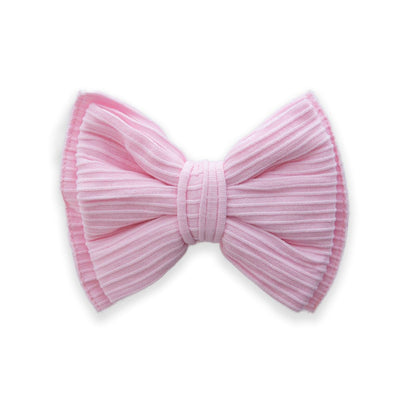 RIBBED BOW CLIP: Pink