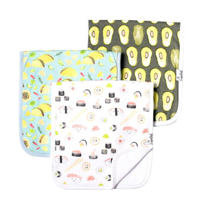 Set of Three Premium Burp Cloth- Baja