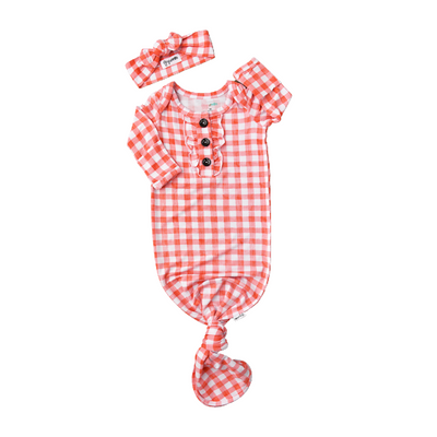 Harlow Peach Gingham Knotted Ruffle Button Gown and Headband