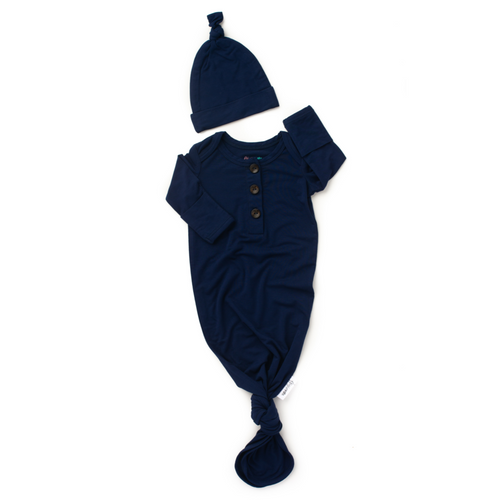 James Navy Blue Knotted Button Gown and Knot Hat