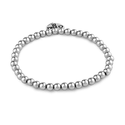 4mm Silver Bead Stretch Bead Bracelet
