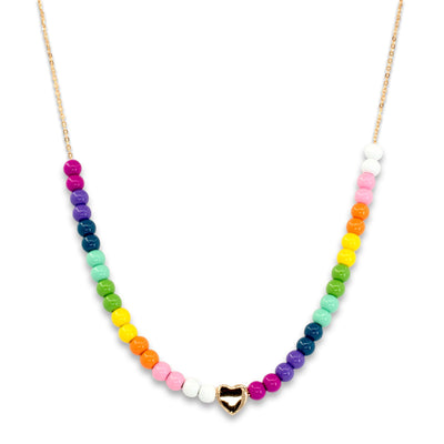 Gold Rainbow Bead Necklace