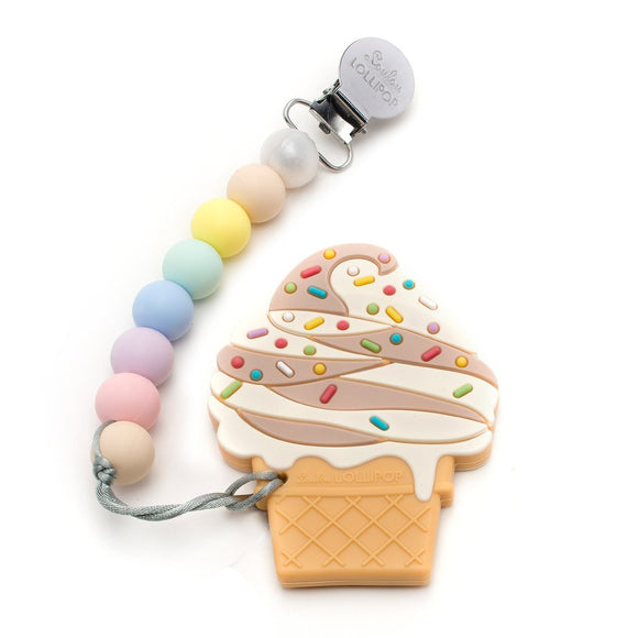 Chocolate Ice Cream Teether With Holder
