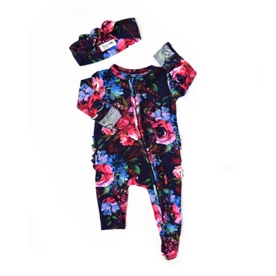 Gabriella Floral Newborn Footed Ruffle Zip Outfit and Headband