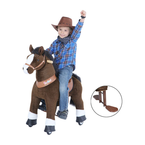 Dark Brown Horse with White Hooves, Medium (Ages 4-10)