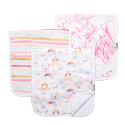 Set of Three Premium Burp Cloth- Enchanted