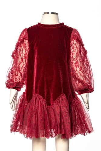 Burgundy Lace Velvet Tunic