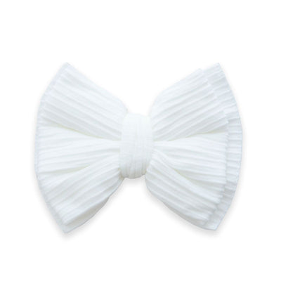RIBBED BOW CLIP: White