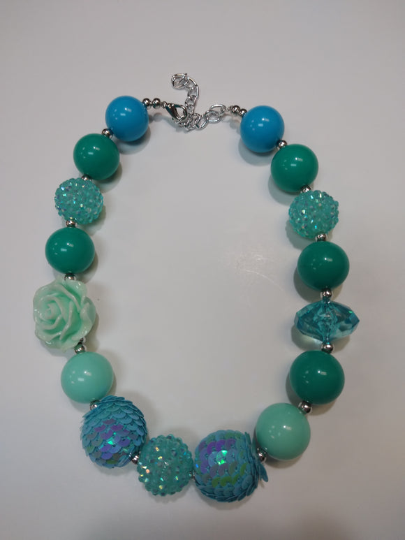 Mint Rose Bubble Necklace
