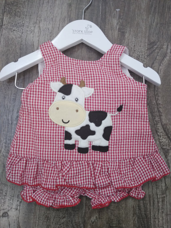Gingham Cow Outfit Set