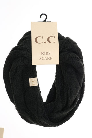 Kids Solid Cable Knit Infinity Scarf
