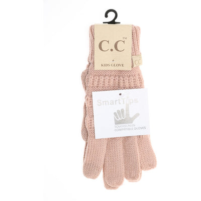 Kids Solid Cable Knit CC Gloves-Indie Pink