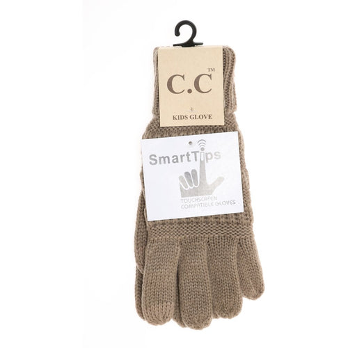 Kids Solid Cable Knit CC Gloves-Taupe