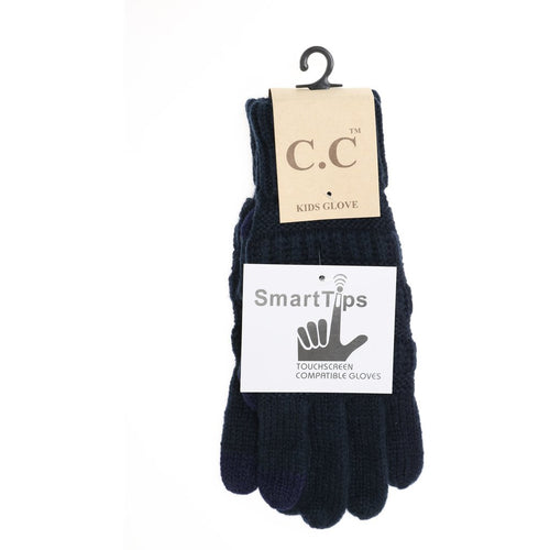 Kids Solid Cable Knit CC Gloves-Navy
