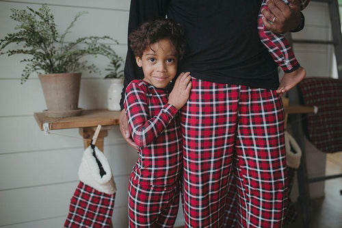 Print Long Sleeve Pajama Set-Crimson 2020 Holiday Plaid