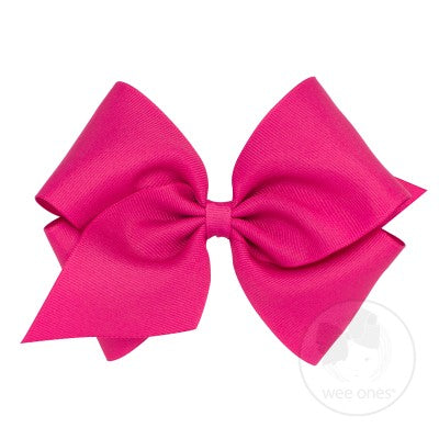 Mini King Classic Grosgrain Bow-Shocking Pink