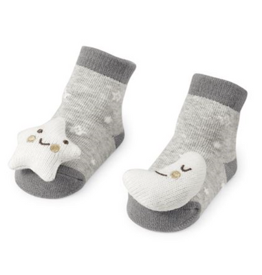 Moon and Star Rattle Toe Socks