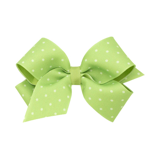 King Dot Print Grosgrain Bow-Celadon