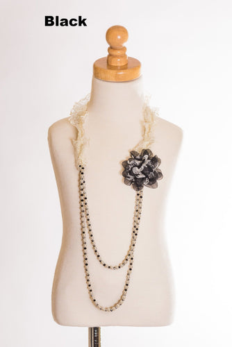 Elastic Floral Lace Necklace- Black