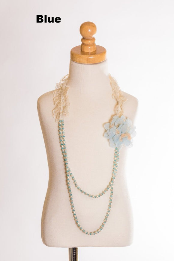 Elastic Floral Lace Necklace - Blue
