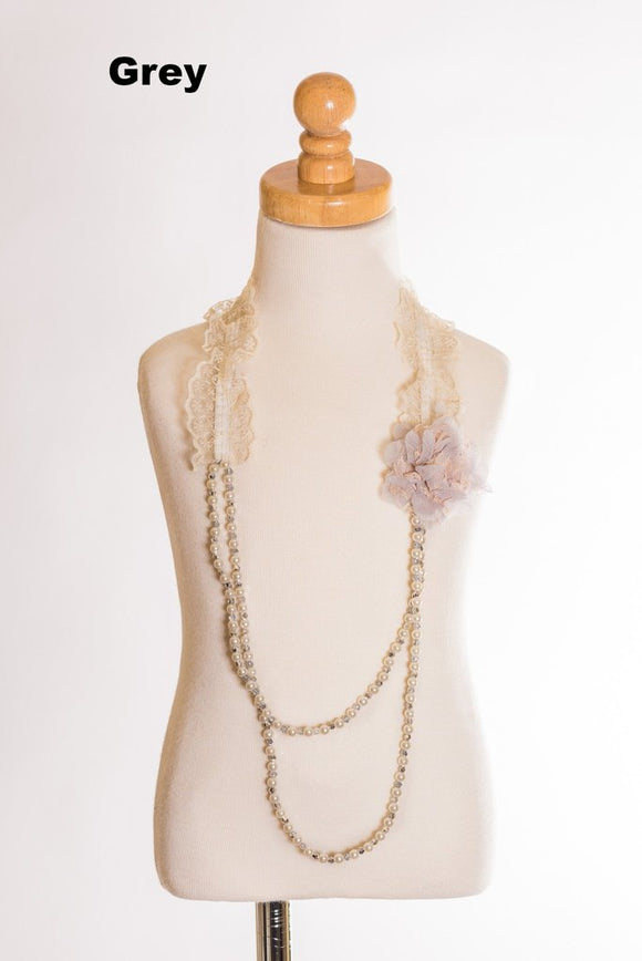 Elastic Floral Lace Necklace - Gray
