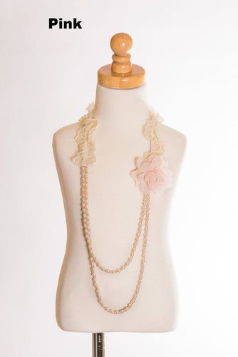 Elastic Floral Lace Necklace - Pink