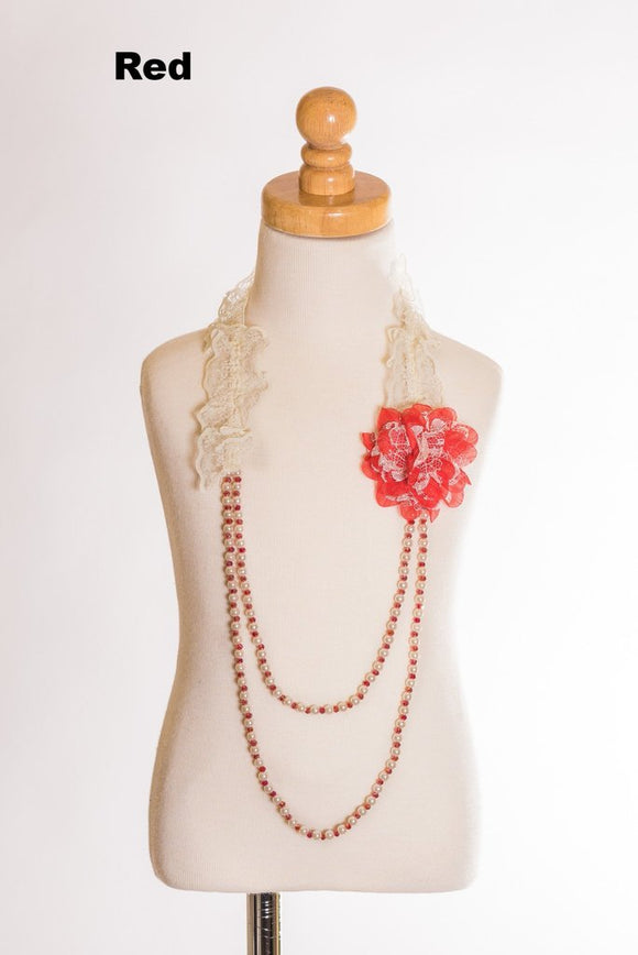 Elastic Lace Necklace W/ Pearls and Flowers